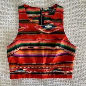 ASTR Navajo print zip back crop top 1417